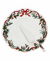 Martha Stewart 6785 Holiday Garden White 2pc Serving Platter 13 Inch Bhfo