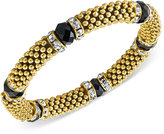 2028 Gold-Tone Jet Stone and Crystal Metallic Beaded Stretch Bracelet