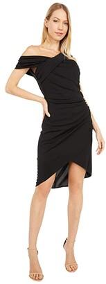 ONE33 SOCIAL Asymmetrical Matte Jersey Fitted Party Dress (Black) Women's Dress
