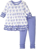 Kickee Pants Babydoll Outfit Set (Baby) - Forget Me Not Floral - 3-6 Months