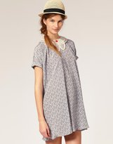 Bow Neck Printed Floral Smock Dress