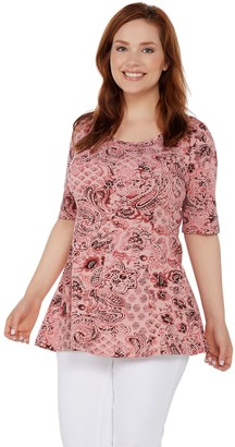 Denim & Co. Petite Elbow-Sleeve Printed Fit & Flare Tunic