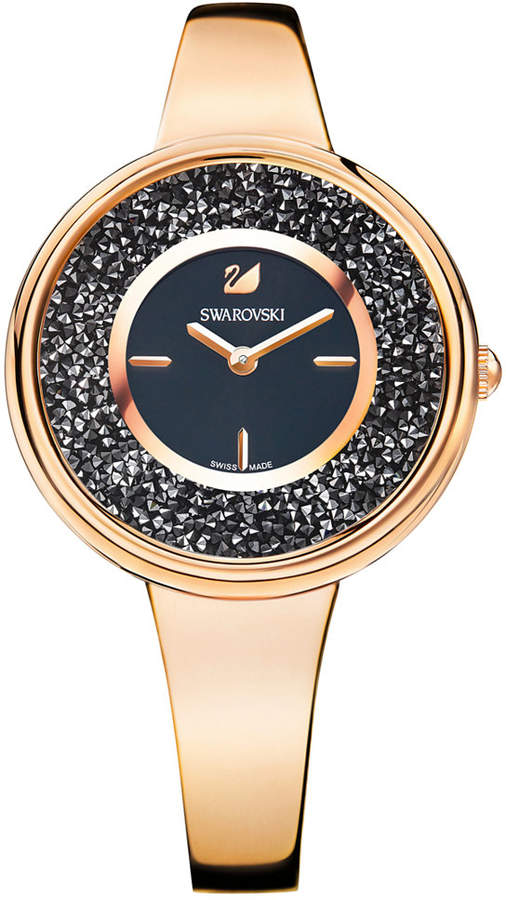 Swarovski Women's Swiss Crystalline Pure Rose Gold-Tone Stainless Steel Bangle Bracelet Watch 34mm