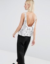 Dr. Denim Scoop Back Drop Arm Tank With Oil Print