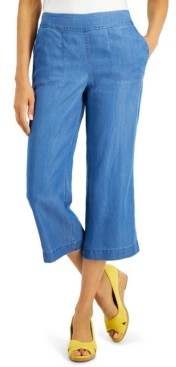 Charter Club Chambray Cropped Pants, Created For Macy's