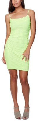 Bebe Power Mesh Mini Dress (Lime) Women's Dress