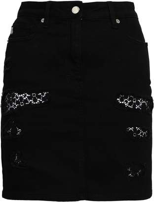 Love Moschino Lace-trimmed Frayed Denim Mini Skirt