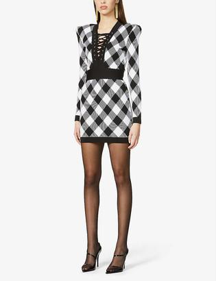 Balmain Diamond-print padded-shoulder stretch-knit mini dress