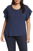 Sejour Plus Size Women's Pleat Ruffle Sleeve Top