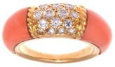 Van Cleef & Arpels 18K Yellow Gold Coral and Diamond Philippine Ring Size 5