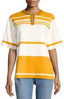 Tory Burch Krista Suede-Trim Striped Colorblock Tunic, Orange/White