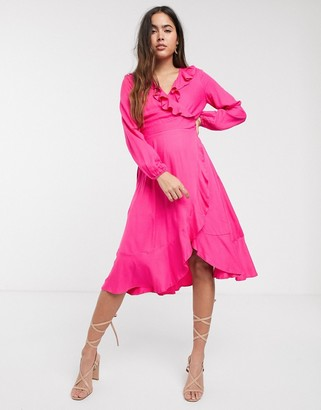 Closet London Closet long sleeve frill wrap dress