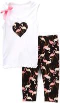 Beary Basics White Heart Bow Tank & Flamingo Capri Pants - Toddler & Girls