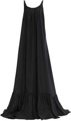 Brunello Cucinelli Open-back Bead-embellished Silk Crepe De Chine Gown