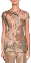 Giorgio Armani Watercolor Floral Cap-Sleeve Blouse, Blush Pink