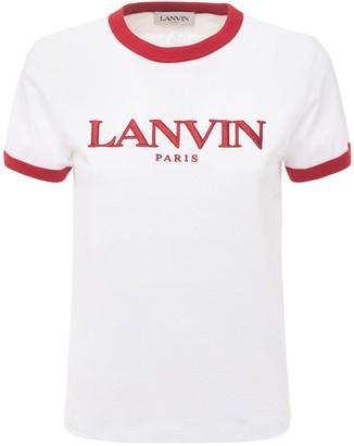 Lanvin Printed Logo Cotton Jersey T-shirt
