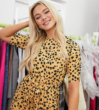 Wednesday's Girl belted midi dress in dalmatian spot