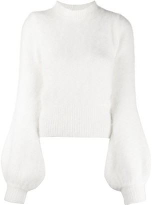 Amen Mock-Neck Balloon-Sleeves Jumper