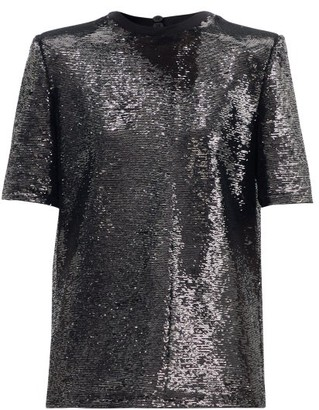 ATTICO Padded-shoulder Sequinned T-shirt - Black