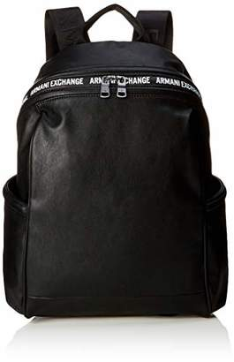 Armani Exchange A|X Men's Leather Backpack with Logo on Pocket