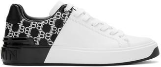 Balmain White and Black Logo B-Court Sneakers