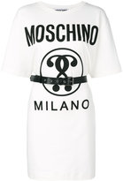 Moschino front logo t-shirt dress - women - Cotton/Other fibres - 40