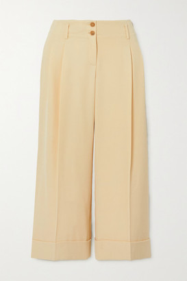 Michael Kors Cropped Pleated Wool-twill Wide-leg Pants - Off-white