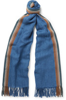 Valentino - Striped Linen, Cotton, Cashmere And Silk-blend Scarf