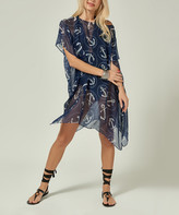 Simmly Women's Swimsuit Coverups Navy - Navy Blue Anchors Sheer Sidetail Cover-Up - Women