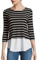 Red Haute Double Lay Striped Top