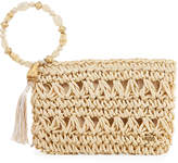 Capelli of New York Straworld Jeweled Woven Wristlet Bag