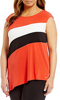 Calvin Klein Plus Colorblock Sleeveless Angle Hem Top