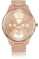 River Island Womens Rose gold tone rhinestone encrusted watch