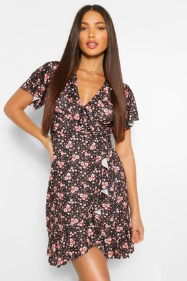 boohoo Tall Ditsy Floral Wrap Front Mini Dress