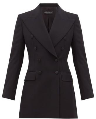 Dolce & Gabbana Double-breasted Tailored Wool-blend Blazer - Black