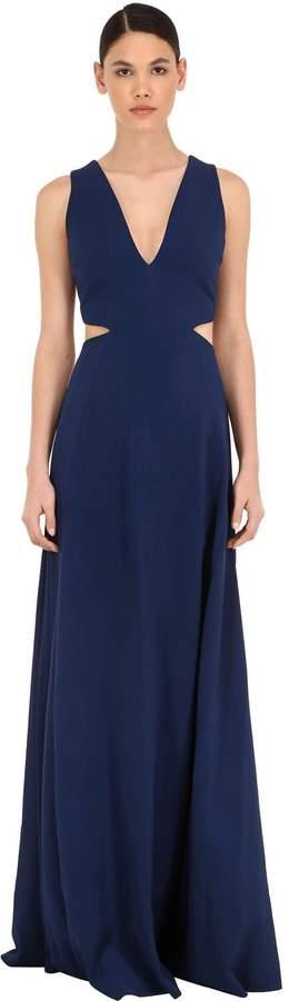 Azzaro Cady Long Dress W/ Metal Belt Detail