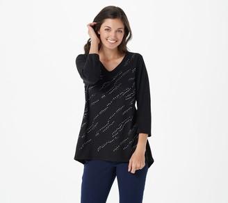Susan Graver Weekend Cotton Modal Embellished Top w/Hi-Low Hem