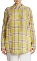 Lafayette 148 New York, Plus Size Sabira Chain Trim Plaid Blouse