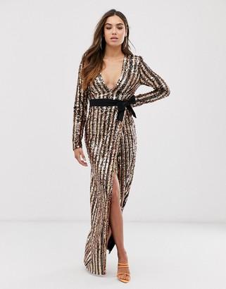 Club L London plunge neck stripe sequin wrap front maxi dress