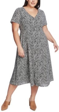 1 STATE 1.state Plus Size Floral-Print Midi Dress