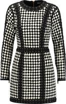 Balmain Lace-up woven leather mini dress