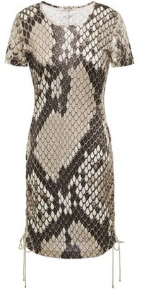 Roberto Cavalli Lace-up Snake-print Satin-jersey Mini Dress