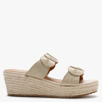 Df By Daniel Yvette Gold Rope Espadrille Wedge Sandals
