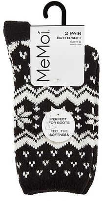 Me Moi Snowflakes Buttersoft 2-Pack Crew Socks