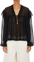 Robert Rodriguez Women's Silk Chiffon Ruffled Peasant Blouse-Black