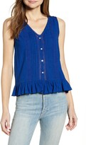 Lucky Brand Lace Pintuck Detail Sleeveless Cotton Peplum Top