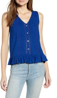 Lucky Brand Lace Pintuck Detail Sleeveless Cotton Peplum Top