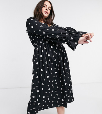 Never Fully Dressed Plus embroidered puff sleeve shirred midi dress in black cross print