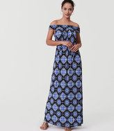 LOFT Medallion Off The Shoulder Maxi Dress
