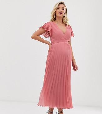 Asos DESIGN Maternity pleated ruffle wrap midi dress in texture-Pink